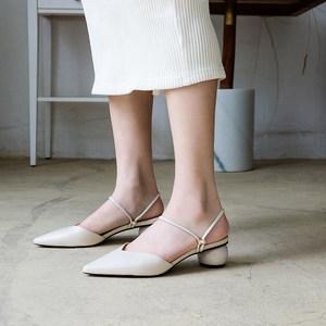 2019夏天拖鞋<span class=H>凉鞋</span>两穿女中跟真皮包头单鞋粗跟低跟鞋尖头真皮全皮