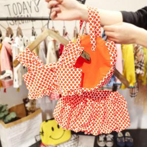 1-4岁女宝宝波点套装3女婴儿夏装韩版背心+大PP裤+小包洋气三件套