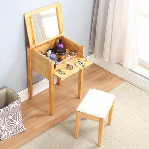 ?#30340;?#23567;户型梳妆台翻盖松木小化妆桌简约日式迷你卧室多功能梳妆柜