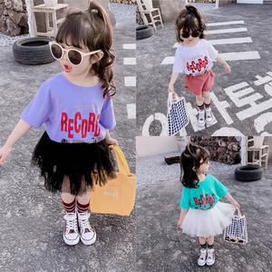 寶寶短袖純棉T恤彈力男童女童夏季嬰兒<span class=H>童裝</span>母女親子夏裝半袖上衣