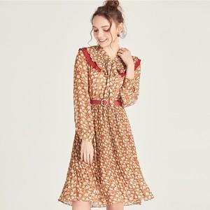 唯依◆S系列品牌折扣女装女款可爱大气田园风撞色收腰碎花<span class=H>连衣裙</span>