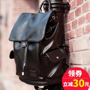 裂狼休闲双肩包男士韩版潮流皮背包男时尚学生书包旅行包电脑男包