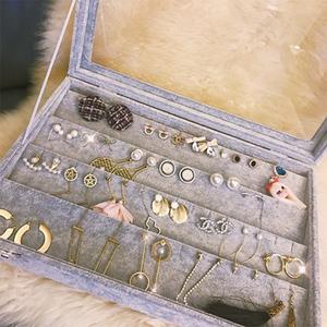 耳环首饰收纳盒饰品耳钉防尘戒指盒子耳坠耳线归纳整理<span class=H>珠宝</span>箱带盖