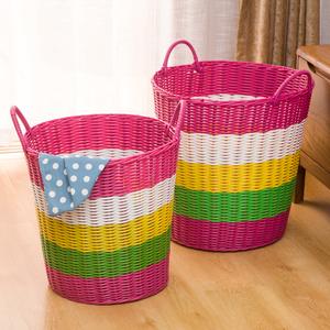 粗管塑料编织脏衣篮脏衣篓洗衣篮玩具收纳框浴室放脏衣服桶包邮