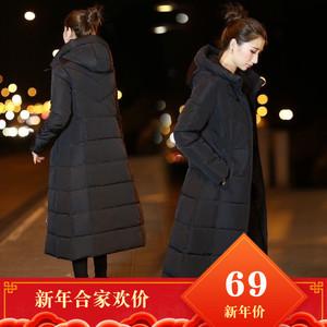 冬季2018新款韩版反季棉袄过膝中长款羽绒棉服加厚修身显瘦外套女