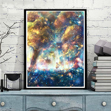 Digital Oil Painting Diy Bedroom Character Cartoon Watercolor Hand-painted Filling Painting Oil Decorative Painting Looking at the Sky