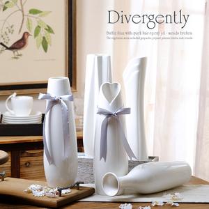 陶瓷花瓶玉质客厅餐桌<span class=H>摆件</span>创意现代白色简约家居装饰品水培插花器