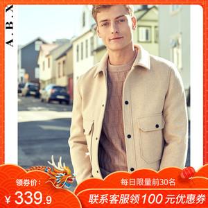 秋冬2018新款羊毛呢子夹克男青年韩版潮流修身帅气翻领毛呢短外套
