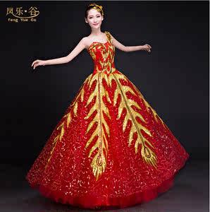 新款开场舞大摆裙大型<span class=H>演出服</span>装女歌伴舞现代舞台花瓣成人舞蹈长裙