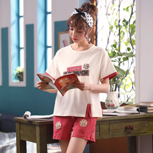 New Autumn Female Sleepwear Cotton Suit Short-sleeved Short-sleeved Shorts and Long-sleeved Trousers Leisure Lovely Sports Home Apparel