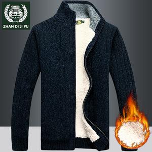 冬季新款男装加绒加厚时尚毛衣青年针织衫男士立领长袖保暖<span class=H>外套</span>男