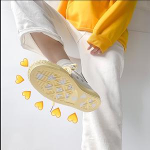 鮀品柠檬黄高帮帆布鞋女学生韩版夏款小白鞋<span class=H>女鞋</span>子夏百搭2019潮鞋