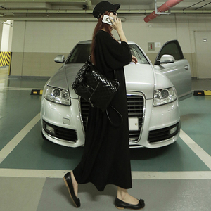 2018早秋新款女装韩版宽松大码莫代尔黑裙黑色长款休闲长裙连衣裙