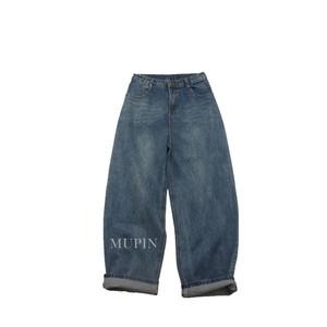 胸以下全是腿CHAO显瘦好搭复古色慵懒范高腰阔腿裤长裤<span class=H>牛仔裤</span>女