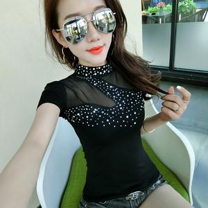 洋气小衫夏装新款韩版性感网纱打底衫女装镶钻修身百搭短袖棉T恤