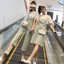 Fashion Suit Summer 2019 Down-age T-shirt + Pocket Broad-legged Belt Belt Skirt and Girlfriend Suit