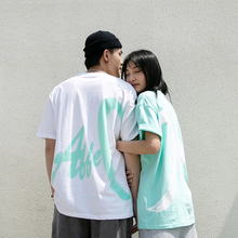 Prank kiss Li Yunuo Chao Brand Short Sleeve T-shirt for Loving Loving Lovers with Lovely Cotton Round Collar in Summer of 2019