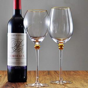 出口<span class=H>水晶</span>玻璃金边高脚杯情迷钻石香槟杯葡萄酒杯家用奢华红酒杯子