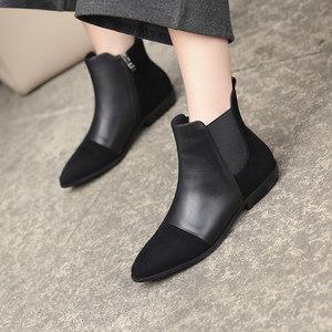 平底短靴女2018冬季新款女鞋切尔西靴磨砂真皮<span class=H>裸靴</span>加绒女靴子