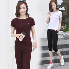 Summer 2019 New Large Size Slim Leisure Sports Suit Women's Summer Short Sleeve T-shirt Seven-minute Pants Running Wear