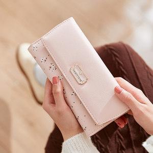 普瑞蒂长款女士<span class=H>钱包</span>2019新款时尚简约小清新三折叠大容量学生皮夹