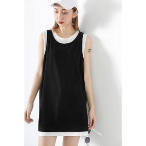 廠家促銷新款假兩件上衣女學生中長款拼色運動風無袖<span class=H>T恤</span>裙寬包郵