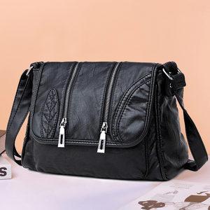 欧娜诗2019新款羊纹软皮包斜挎包妈妈女包中年女单肩包休闲手提包