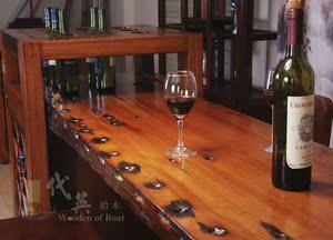 老船木古典住宅<span class=H>家具</span>中式纯实木船木家用酒柜吧台桌椅组合玄关隔断