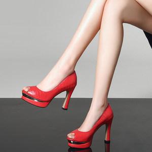 2018春季新款真皮高跟鞋防水台厚底粗跟单鞋牛皮<span class=H>鱼嘴</span>女鞋<span class=H>红色</span><span class=H>婚鞋</span>