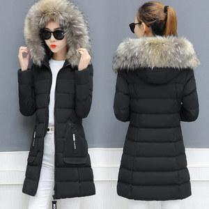 2017新款<span class=H>棉衣</span>女中长款冬季外套胖妹显瘦羽绒棉服韩版加厚棉袄外套