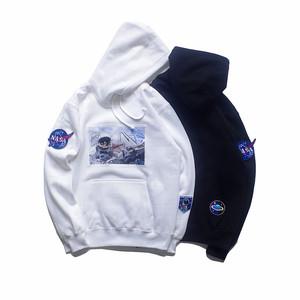 STNW官方正品潮牌国潮刺绣徽章NASA宇航员情侣款连帽加绒<span class=H>卫衣</span>男女