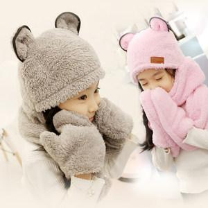 冬季儿童帽子围巾<span class=H>手套</span>三件套套装保暖韩版男女童护耳帽小孩围脖帽