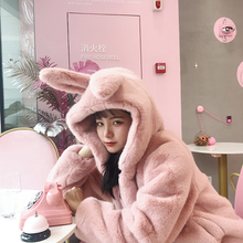 Fall and Winter 2019 Lovely Hat Rabbit Ear Furry Thickened Coat Imitating Rex Rabbit Fur Coat Female Soft Girl