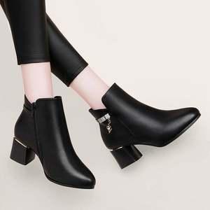 短靴女鞋2019新款秋<span class=H>冬鞋</span>加厚粗跟中跟高帮皮鞋百搭冬季靴子高跟鞋