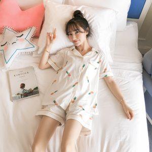 夏季热卖韩版少女学生卡通印花菠萝两件套短袖<span class=H>热裤</span>睡衣家居服套装