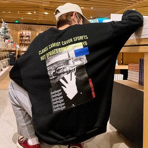 照片印花<span class=H>卫衣</span>男加肥加大码圆领外套头宽松潮胖子长袖T恤春装日系