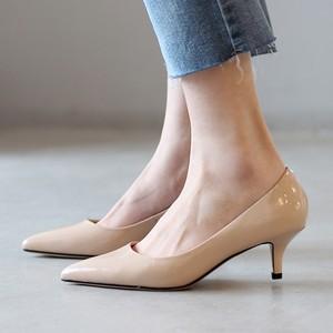韩版尖头浅口性感细跟猫跟5cm高跟漆皮单鞋通勤裸色工作鞋女显瘦