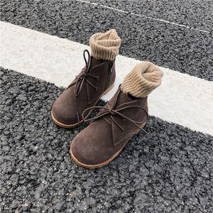 儿<span class=H>童鞋</span>磨砂皮靴子女童百搭翻毛皮及踝靴短靴男童马丁靴加绒棉靴