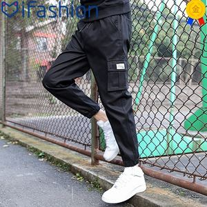 裤子男士韩版潮流夏季潮牌百搭宽松小脚九分运动裤束脚休闲工装裤