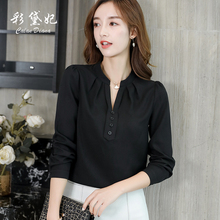 Coloured Princess Daisy's new Korean version of spring and summer 2019 is slim, White Chiffon shirt, pure color fashion and leisure women's wear