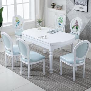 欧式实木可伸缩折叠餐<span class=H>桌椅</span>组合多功能变形圆桌小户型桌子家用餐桌