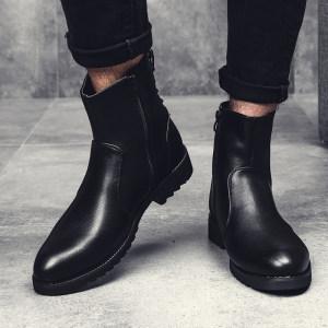 真皮休闲靴子好穿的方便鞋子型男软皮防滑秋季透气搭小脚裤的中筒