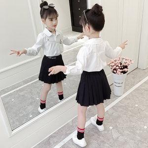 女童衬衫春装2019新款韩版儿童装女孩长袖<span class=H>上衣</span>女大童春季白色衬衣