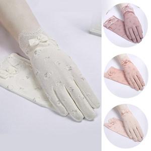 夏季防晒手套女防紫外线薄款电动车骑开车触摸韩版蕾丝薄款手套