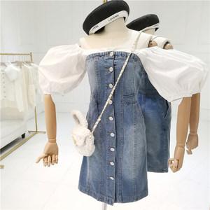 牛仔裙<span class=H>抹胸</span>拼接<span class=H>连衣裙</span>假两件一字肩修身中长款女设计感泡泡袖裙子