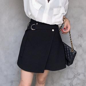 柒柒家 冷淡风心机裙子 设计感复古2018夏新款女一片式半身裙短裙