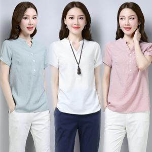 棉麻短袖T恤<span class=H>女装</span>衬衫2018夏季新款遮肚子显瘦胖MM大码宽松上衣潮