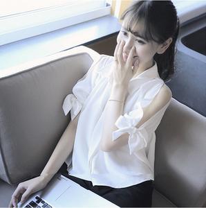 白领女装时尚气质衣服夏装名媛2017新款韩版成熟<span class=H>上衣</span>短袖漏肩学生