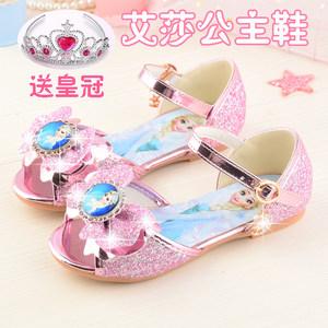 2019夏季女童平底水晶鞋冰雪奇缘艾莎公主鞋粉色亮片软底儿童凉鞋