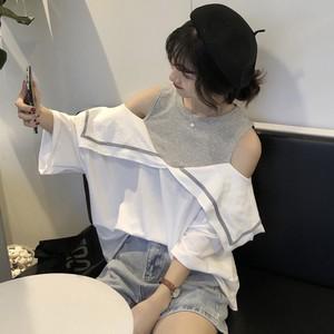 露肩假两件短袖<span class=H>T恤</span>女夏季2019网红同款女装韩版洋气宽松ins上衣潮